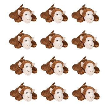 Bulk 12 Pack Monkey Mini 4 Inch Small Stuffed Animals, Bundle Zoo Animal Toys, Jungle Safari Party Favors for Kids
