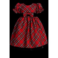 Red & Green Plaid Girls Ruffle Sleeve Holiday Dress w. Velvet Trim 3M-4T