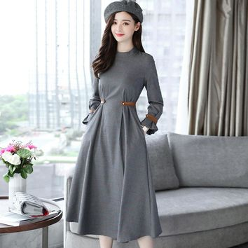Autumn Winter Dresses 2017 Fashion Women Long Sleeve Korean Slim Tunic A Line Vintage Elegant Grey Plaid Dress Plus Size