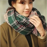 Plaid Wrap Knitted Wool Scarf