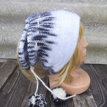 knitted hat, knit white black mohair cap , knitted women's slouche, knitting colorful headband, knit neck warmer, cowl, knit accessories