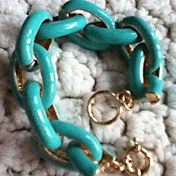 Chunky Exaggerated Turquoise Link Chain Bracelet Statement Gold Stackable J Style Palm Beach Luxury New 2015 Girl Teen Women Monogram