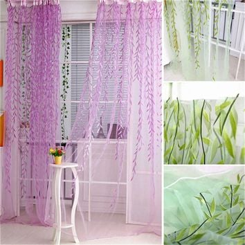 1M*2M New Chic Room Willow Pattern Voile Window Curtain Sheer Panel Drapes Scarfs Curtain Y1