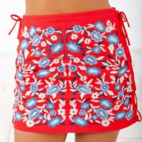 Trust Yourself Embroidered Skirt (Red)