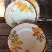 Vintage Franciscan ware dishes in October pattern, Franciscan bread and butter plates, Thanksgiving serving, autumn dishes, Gladding McBean