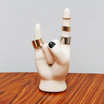 Rock On Hand Ring Holder in White - Urban Outfitters