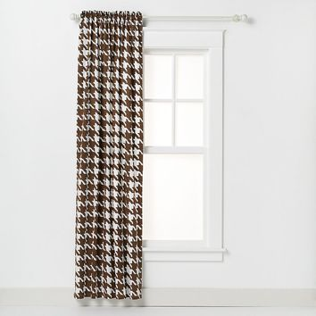 Bacati Quilted White & Chocolate Circles Houndstooth Curtain Panel (Brown/White)