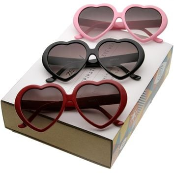 Women's Oversize Gradient Lens Hear Shape Sunglasses C105 [Promo Box]