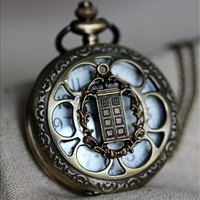 Doctor Who tardis pocket watch necklace (Size: 1.85 inch, Color: Antique bronze) [8833615564]