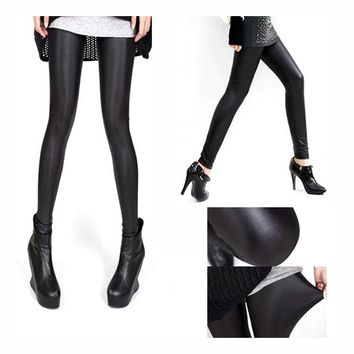 SEXY FASHION LEATHER LOOK HIGH WAISTED JEGGINGS / LEGGINGS For WOMENS