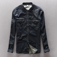 Cotton denim shirt men brand clothing mandarin collar shirt mens retro washing dark slim fit men shirt casual camisa masculina