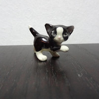 Vintage Miniature Ceramic Hagen Renaker Black and White Playful Kitty Cat Figurine