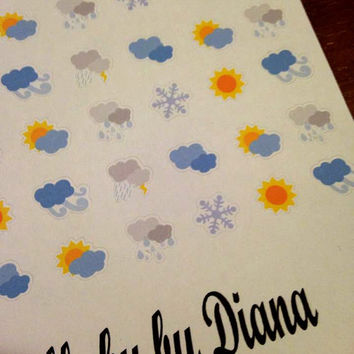 Set of 100 Pre-cut Small Weather Stickers   - Perfect for your Erin Condren, Plum Paper, Filofax, planner or scrapbook
