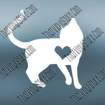 Preppy Cat Heart Love Decal | Shorthair Cat Decal | Purebred Decal | Preppy Purebred | Preppy Animal Decal | Love Animal Decal | 567