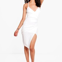 Petite Kara Strappy Wrap Asymmetric Dress | Boohoo