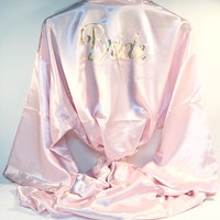 Bride, bridesmaid Pink Kimono Silk Robe. Beautiful Wedding Party Gifts.