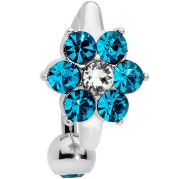 Blue CZ Gem Pretty Posy Top Mount Belly Ring