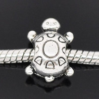 Cute Baby Turtle Authentic European Charm | Silver Toned Tortoise Animal Reptile Fashion Gift Spacer Bead for Bracelet Necklace or Earrings