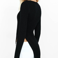 Ribbed Deep V-neck High Slit Tunic Sweater from EXPRESS