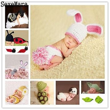 Crochet Set Newborn BABY Photo Prop Costume - Handmade Knitted characters for infant