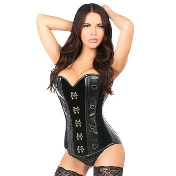 Daisy Corsets Top Drawer Green Velvet & Faux Leather Steel Boned Corset
