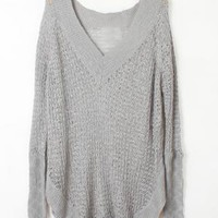 Irregular V Neck Gray Sweater S002785