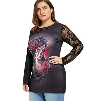 Lace Insert Witch Skull Plus Size T Shirt Women Summer Top Plus Size Women Clothing Big Size 4XL 5XL