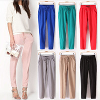 Summer Women's Casual Pants Fashion Sexy Chiffon Elastic Waist Pants Trousers