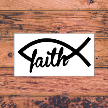 Faith Fish Decal | Christian Car Decal | Faith Hope Love Decal | Christian Family Decal | Christ First Decal | Christ Life Car Decal  | 287