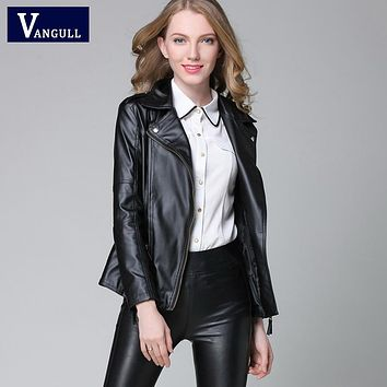 Elegant Spring Leather Jacket New Women's Short Black RED PU Leather Coat Ladies Slim Motorcycle Jaqueta Couro