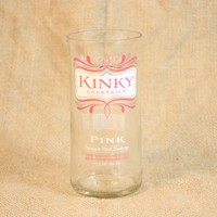 Drinking Glass from Recycled Kinky Pink Malt Beverage Bottle, 8 oz, Unique Barware, Unique Gift, ONE glass