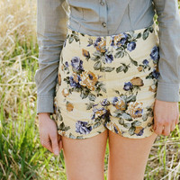 Flower print linen shorts  lemonade yellow high by Minxshop