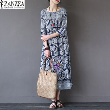 ZANZEA Vintage Women Loose Cotton Linen Floral Print Pockets Maxi Long Dress Retro Half Sleeve Straight Shift Dress Kaftan Tunic