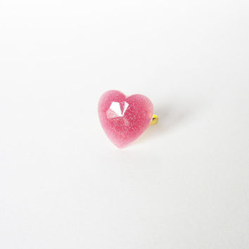 "Glitter PINK ""Mauve Diamonds"" HEART resin RING. Glitterring heart ring"
