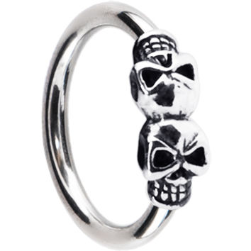 Silver 925 Double Skull Closure Ring | Body Candy Body Jewelry