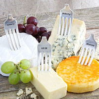 Cheese Silver Plated Vintage Fork Markers