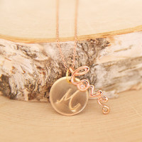The Love Necklace Handmade by BareandMe on Etsy, Rose Gold Love Jewelry for Valentine's Day, Bridesmaid Gifts and Favors