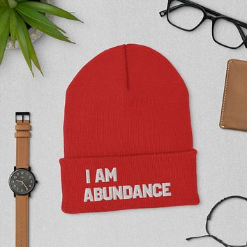 """""""I AM ABUNDANCE"""" Positive Motivational & Inspiring Quoted Embroidery Cuffed Beanie"""