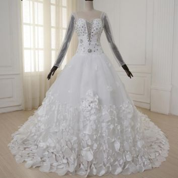 Gorgeous Wedding Dress Sweetheart Beaded Crystals Bridal Gowns with handmade Flower Petals Train Sleeves Custom