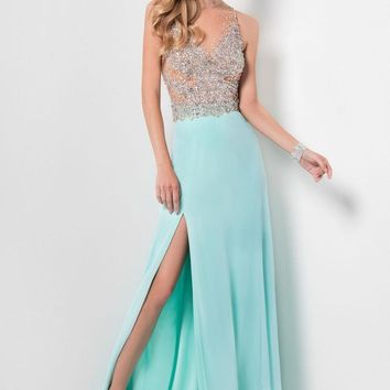 Terani Couture - Crystal Embellished Sheer Illusioned Bodice Prom Dress 1712P2511