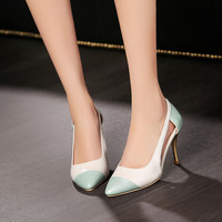 Pointed Toe Color Block Gold Heel Women Pumps Spike Shoes 9704