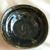 Metalic green bowl handmade pottery stoneware hand textured for fruit home decorative unique ooak