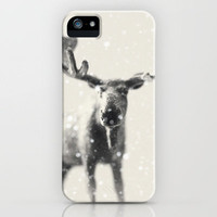 winter moose iPhone Case by Beverly LeFevre | Society6