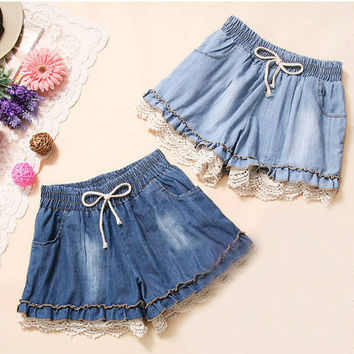 Girl Shorts High Waist Denim Short Pant Loose Stretch Trouser Lace Cut-Off Jeans