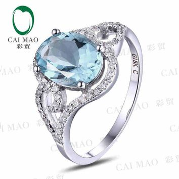 CaiMao 1.60 ct Natural Aquamarine 18KT/750 White Gold  0.24 ct Full Cut Diamond Engagement Ring Jewelry Gemstone
