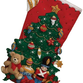 "Under The Tree Bucilla Felt Stocking Applique Kit 18"" Long"