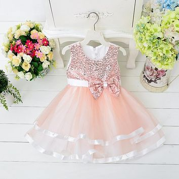 sequined short girl dress sleeveless bow flower girl dress for wedding 4 color 6 sizes dress for birthday