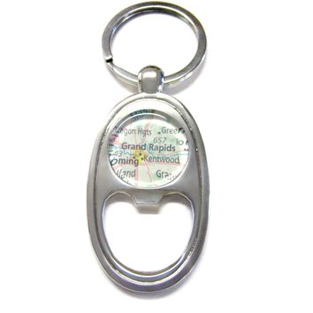 Grand Rapids Michigan Map Bottle Opener Key Chain