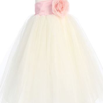Ivory Layers of Tulle & Poly Silk Blossom Flower Girls Dress w Sash Color Choice (Girls 6 months - Size 12)