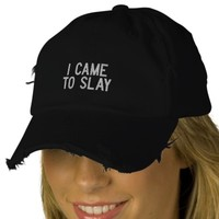 I CAME TO SLAY Custom Distressed Baseball Cap | Zazzle